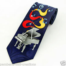 Grand Piano Blues Mens Necktie Musical Instrument Notes Music Gift Neck Tie New