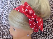 NAUTICAL RED SAILOR COTTON BENDY WIRE/WIRED HAIR HEAD BAND 50'S VINTAGE STYLE