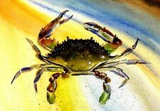 Maryland Blue Crab 8X10 Watercolor Delaware Beach Decor art print - Barry Singer
