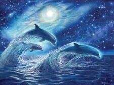 Beautiful Matted Ocean Dreamers Dolphins Foil Art Print~8x10~Animals~Affordable