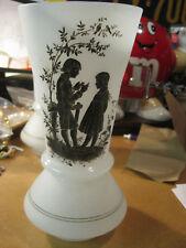 Vintage Hand Blown glass? Vase Signed Boy Girl Black Wh