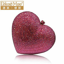 Pink Handmade Austria Crystal Heart Wedding Bridal Cocktail Evening Bag Clutch