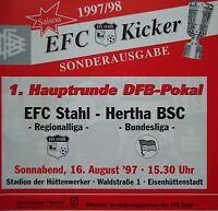 Programm Pokal 1997/98 Eisenhüttenstädter FC Stahl - Hertha BSC Berlin