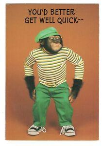 Vintage Hallmark LILL'S CHIMPANZEE MONKEY Get Well Greeting Card w/ Envelope G6