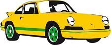 12x5cm Shaped Vinyl Window Sticker Porsche 911 car German vintage classic