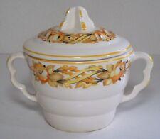 Vintage Sebring Pottery Co. Sugar Bowl with Lid - Orange Flowers 93999