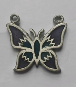 METAL BUTTERFLY PENDANT/ HAND PAINTED BLUE AND PURPLE/ BIKER/ HIPPY/ GOTH