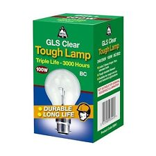 100w Clear BC Light Bulb Tough Lamp Traditional Old Fashioned Dimmable B22 BELL
