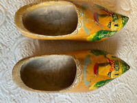 "Vintage Pair 10"" Dutch Holland Rotterdam Wooden Hand Carved/Painted Clogs Shoes"