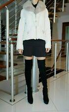 DENA Off White Jacket Real Fox Fur Collar Size 38 EUR