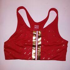 Victoria Secret PINK Sports Bra Large Red Gold Metallic Logo Ultimate Bralette