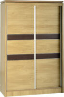 Charles 2 Door Sliding Wardrobe in Oak Effect Veneer with Walnut Trim - Wooden