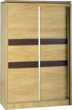 Seconique Charles 2 Door Sliding Robe in Oak Effect Veneer With Walnut Trim
