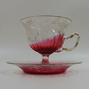 19th c. Moser Cup and Saucer Set - Cranberry Gilt Etched Cut Glass