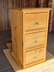 Filing cabinet 3 drawer Wooden lockable