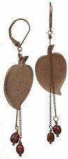 NEW PILGRIM GOLD BRONZE EARRINGS PEARLS HEART SHAPED LEAF PENDANT DROP DANGLE ,.