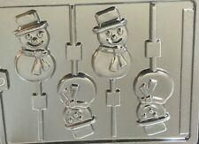 SMILING SNOWMAN CHOCOLATE LOLLIPOP LOLLY MOULD 1 DESIGN 4 SHAPES ON 1