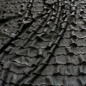 RaRa Ruffle fabric - Frill - Black, purple, animal print - Stretch dress fabric
