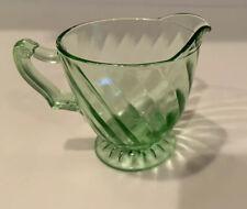 Vintage 1928-30 Depression Glass Anchor Hocking Spiral Green Footed Creamer