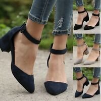 Women Ladies Low Block Heel Pointed Toe Casual Shoes Ankle Strap Sandals Shoes