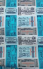 VINTAGE CLASSIC TRAIN TICKETS cotton poplin fabric  sold by the metre