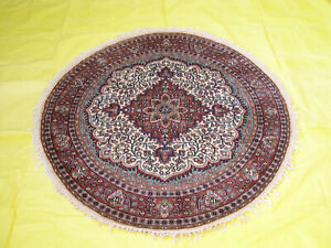 Classic Oushak Floral Design 4x4 Hand-Knotted Oriental Round Rug Decor Carpet
