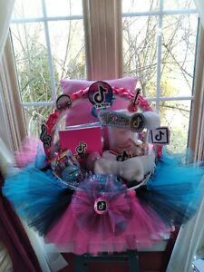 Musical Tic Tok Theme Tutu Gift Basket Detachable Handmade Hair bow In Front
