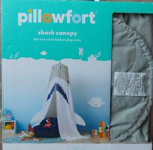 Pillowfort Shark Canopy Gray Blue White ~ NEW Over Twin Bed or Play Area