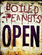 "TIN SIGN ""Boiled Peanuts Vintage"" Food Signs  Rustic Wall Decor"