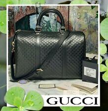 NWT GUCCI BOSTON Micro GG Guccissima Leather Large Satchel Handbag In BLACK GOLD