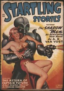 Startling Stories 1950 January. Classic robot, ray gun and space babe cover.