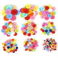 100Pcs/lot Four Holes  Random Mixed Color Round Flatback DIY Wooden Buttons l