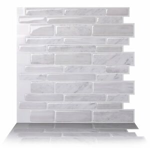 Tic Tac Tiles_3D Peel and Stick Wall Tile_Polito White(30cm x 30cm x 5 sheets)