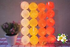 20 Orange Cotton Ball String Fairy,Patio,Wedding,Bedroom,Party & Room Decor