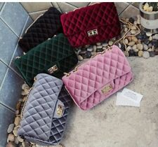 Logo Designer Handbag Velvet Chain Mini Quilted Shoulder Cross Body Clutch GG CC