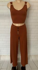 Brown Button Front Flare Stretchy Comfy Trousers and Co ord Set  SIZE 6 - 18