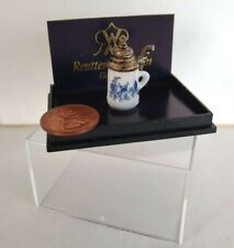 "Miniature Dollhouse German Beer Stein Reutter Porcelain White Blue 1"" Tall"