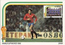 (33305) Coppa Del Mondo Calcio Misura Doppia Cartolina Spagna / Mexico 1986
