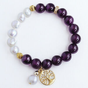 10mm Natural Purple Amethyst PearlBeads Bracelet DCM15
