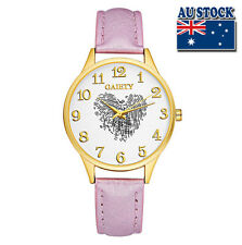 Fashion Pink Leather Love Heart White Dial Quartz Watch Women Lady Wrist Watch