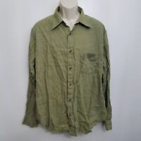 Gap Mens Linen Shirt XL Button Up Green Long Sleeve Vintage 2001