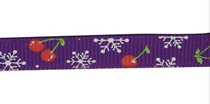 Cherry & Snowflake Grosgrain Christmas Ribbon , Purple , app. 10mm x 5yrds