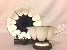 Vintage ROYAL ALBERT Art Deco Black and White Enchanting Panels Cup and Saucer