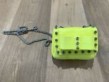 Aila Neon Yellow Leather Mini Bag Bow And Spike Detail