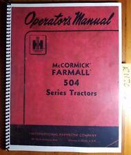 Ih International McCormick Farmall 504 Tractor Owner Operator's Manual R1 2/62