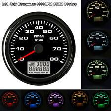 Digital 85mm Tachometer 8K RPM Vessel tacho Gauge +Hourmeter Rev Counter Truck