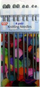4 Pairs Knitting Needles Single Point 25cm 4mm 5mm 6mm 8mm Plastic Hobby New
