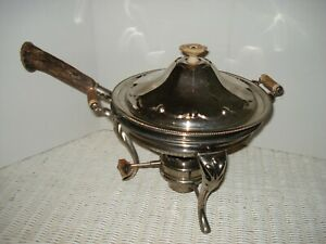 Vintage Empress Stag Horn Chafing Dish Sterno Burner New York Stamping Co Footed