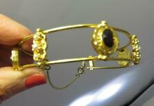 VINTAGE FLORENZA VICTORIAN STYLE LADIES JEWELED CUFF BRACELET GOLD TONED