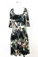 womens black tropical floral KAREN KANE short cold shoulder shift dress modern M
